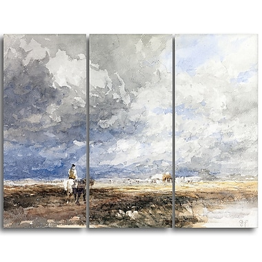 Designart David Cox, Going to the Hayfield Landscape Canvas Arwork, (PT4286-3P)