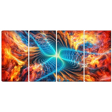 Designart Orange and Blue Turbine 4-Panel Modern Canvas Art Print, (PT3071-271)