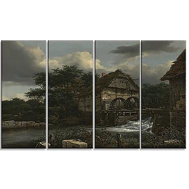 Designart Jacob van Ruisdael, Two Watermills and an Open Sluice Canvas Art Print, (PT4528-271)