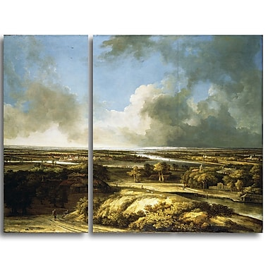 Designart Philips Koninck, A Panoramic Landscape Canvas Art Print, (PT4846-3P)