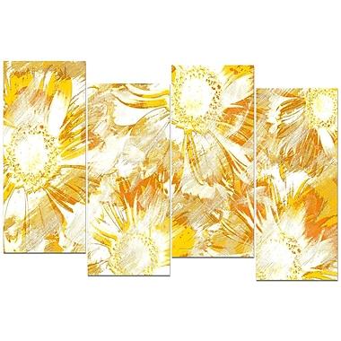 Designart Yellow Flowers 4-Panel Canvas Art Print, (PT3417-1-271)