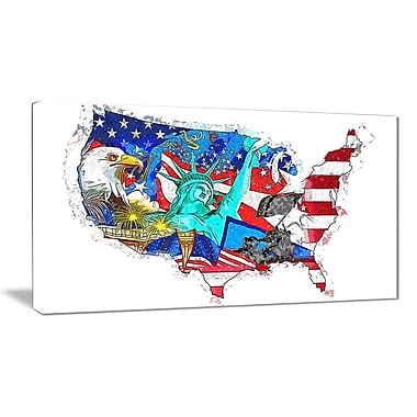 Designart American Monuments Map Canvas Art, (PT2830-32-16)