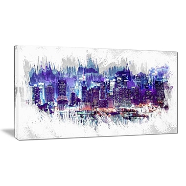 Designart – Impression sur toile, paysage urbain à minuit, 40 larg. x 20 haut. (po) (PT3301-40-20)