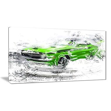 Designart – Voiture verte américaine classique, petite toile de style galerie (PT2612-32x16)