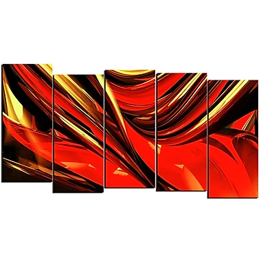Designart Red Lava Ribbons 5-Panel Abstract Canvas Art Print, (PT3031-1084)