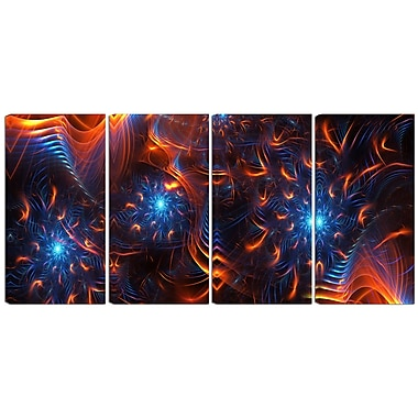 Designart Fire & Ice 4-Panel Canvas Art Print, (PT3001-271)