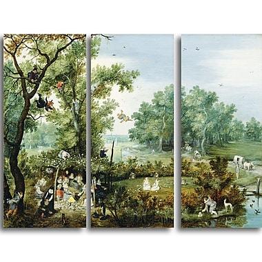 Designart Adriaen van de Venne, Merry Company in an Arbor Canvas Art Print, 4 Panels, (PT4106-3P)