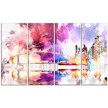 Designart Magic Colourful City art Night Canvas Art, (PT2815-271)