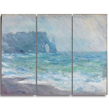 Designart Claude Monet, Regnvaer Etreatat Landscape Canvas Arwork, (PT4262-3P)