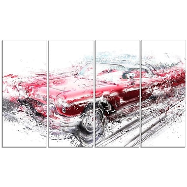 Designart Red Low Rider Convertible, 4 Piece Gallery-Wrapped Canvas, (PT2642-271)