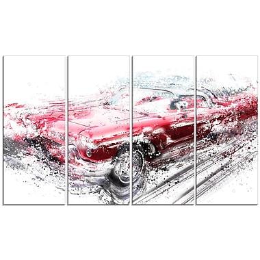 Designart – Toile étirée sur les bords, voiture convertible rouge, 4 panneaux (PT2642-271)