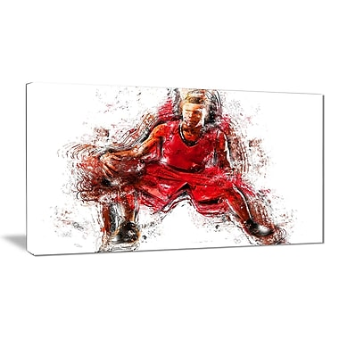 Designart Basketball Dribble Canvas Art Print, (PT2569-32-16)