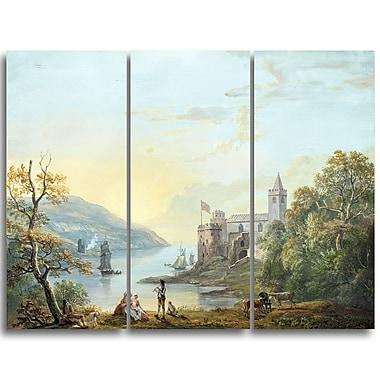 Designart Paul Sandby, Dartmouth Castle Sea & Shore Canvas Artwork, (PT4807-3P)