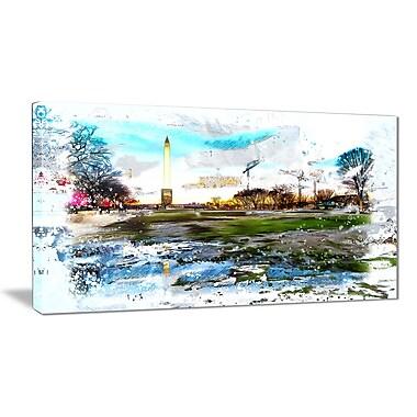 Designart – Art abstrait imprimé sur grande toile, obélisque de Washington (PT2803-32-16)