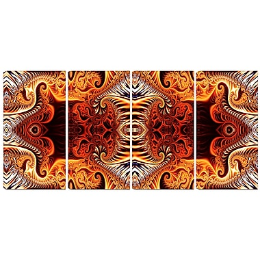 Designart Gold and Silver Reflection 4-Panel Modern Canvas Art Print, (PT3083-271)