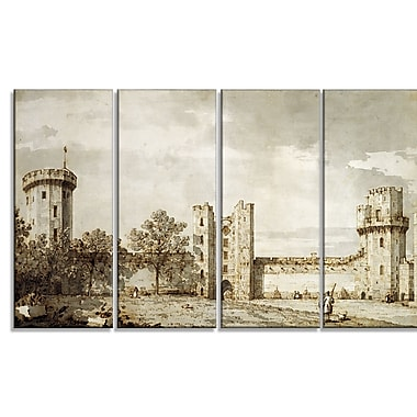 Designart Canaletto, Warwick Castle The East Front Landscape Canvas Arwork, (PT4199-271)