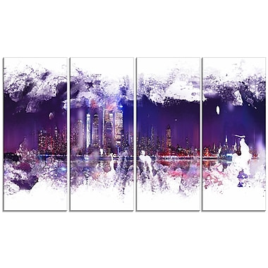 Designart Abstract Purple Cityscape Canvas Art Print, 4 Panels, (PT3320-271)