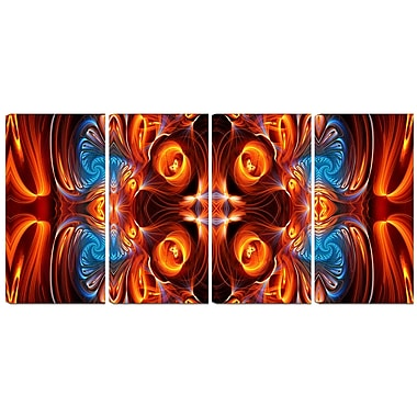 Designart Orange and Blue Mirrored Art 4-Panel Modern Canvas Art Print, (PT3075-271)