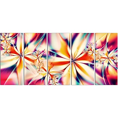 Designart Crystalize Pink Abstract Canvas Art Print, 5 Panels, (PT3013-401)