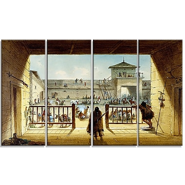Designart Alfred Jacob Miller, Interior of Fort Laramie Large Landscape Canvas Art Print, (PT4125-271)
