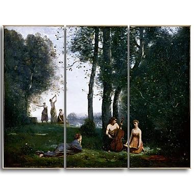 Designart Jean-Baptiste-Camille Corot, Le Concert Champetre Canvas Art Print, (PT4586-3P)