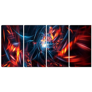 Designart Red and Black Coming Apart 4-Panel Contemporary Canvas Art Print, (PT3067-271)