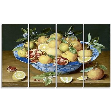 Designart Jacob van Hulsdonck, Still Life with Lemons Canvas Art Print, 4 Panels, (PT4524-271)