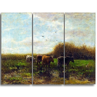 Designart Willem Maris, Cows at Evening Canvas Art Print, (PT4997-3P)