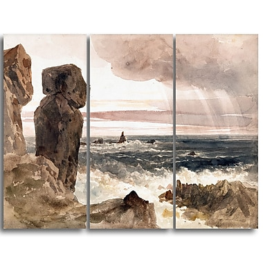 Designart – Toile imprimée de Peter De Wint « Seascape with Rocks Sea & Shore » (PT4835-3P)