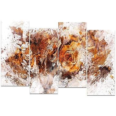 Designart Light Brown Flowers 4-Panel Canvas Art Print, (PT3414-1-271)