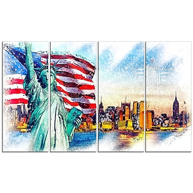 Designart Colourful Liberty Lady Canvas Art, (PT2823-271)