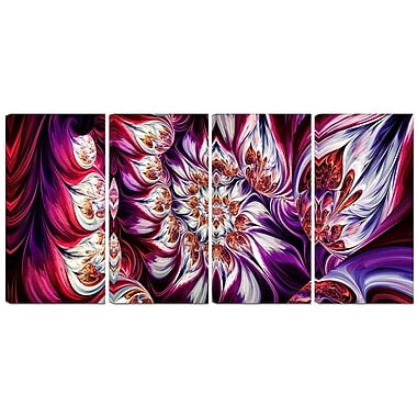 Designart Lavender Floral Pyramid 4-Panel Abstract Canvas Art Print, (PT3095-271)