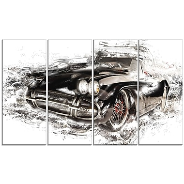 Designart Black Convertible Roadster, 4 Piece Gallery-Wrapped Canvas, (PT2651-271)