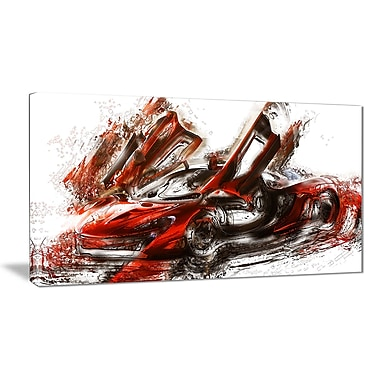 Designart Burnt Red Sports Car Small Gallery Wrapped Canvas, (PT2604-32x16)