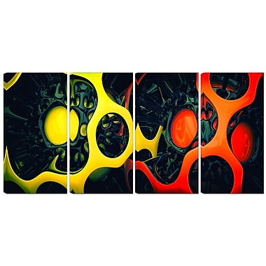Designart Orange and Yellow Geo Art 4-Panel Contemporary Canvas Art Print, (PT3059-271)
