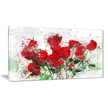 Designart Bed of Roses Canvas Art, (PT3408-32-16)