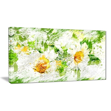 Designart Pair of White Flowers Canvas Art Print, (PT3433-32-16)