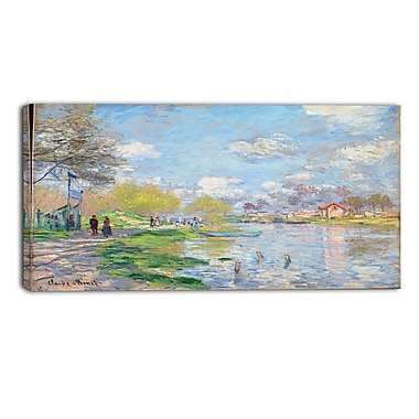 Designart Claude Monet, Spring by the Seine Canvas Art Print, (PT4256-32-16)