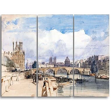 Designart Thomas Shotter Boys, Le Pont Royal Canvas Art Print, (PT4970-3P)