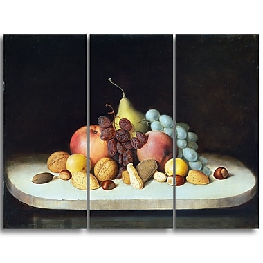 Designart Robert Seldon Dunc, Still Life with Fruits and Nuts Canvas Art Print, 3 Panels, (PT4900-3P)