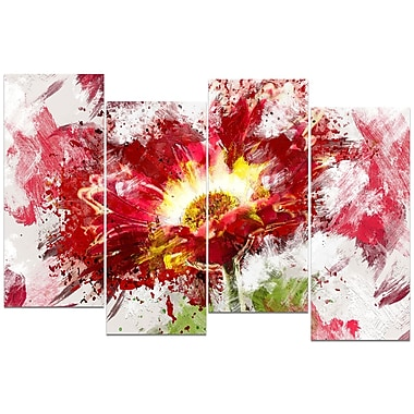 Designart Red Abstract Sunflower Canvas Art, (PT3400-271)