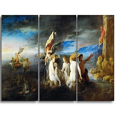 Designart Domenico Fetti, Hero Mourning the Dead Leander Canvas Art Print, (PT4301-3P)