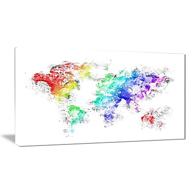 Designart Bright World Map Canvas Art Print, (PT2740-32-16)