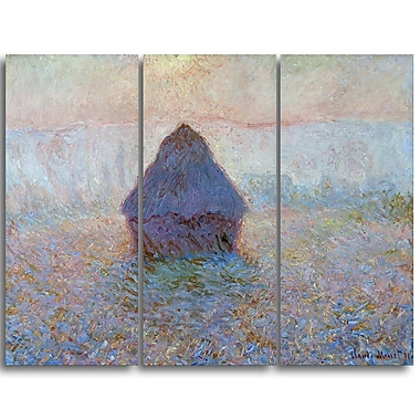 Designart Claude Monet, Grainstack Sun in the Mist Landscape Canvas Arwork, (PT4245-3P)