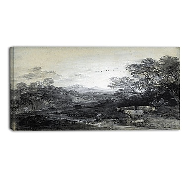 Designart Thomas Gainsborouh, Wooded Landscape with Herdsmen Canvas Art Print, (PT4956-40-20)