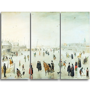 Designart Hendrick Avercamp, A Scene on the Ice Lansdcape Canvas Artwork, (PT4487-3P)