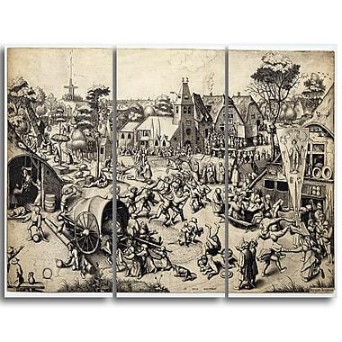 Designart Pieter Bruegel, The Fair of Saint Georges Day Canvas Art Print, (PT4864-3P)