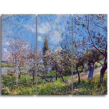 Designart Alfred Sisley, Orchard in Spring Master Piece Landscape Artwork, (PT4130-3P)