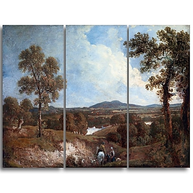 Designart George Howland, Landscape with Figure in Foreground Landscape Canvas Art Print, (PT4416-3P)