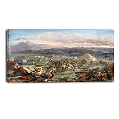 Designart Eugene Delacroix, Botzaris Surprises the Turkish Camp Landscape Canvas Art Print, (PT4365-32-16)